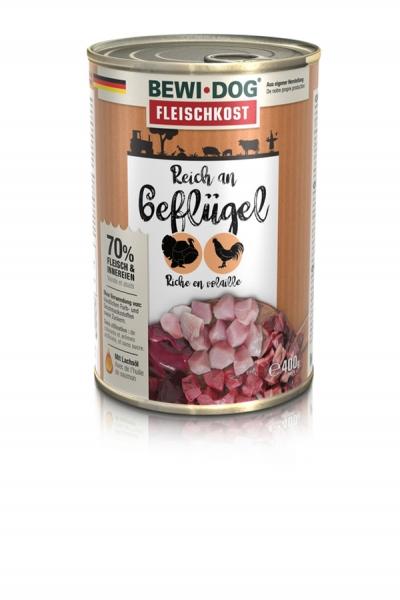 BEWI DOG Fleischkost Reich an Geflügel, 400g
