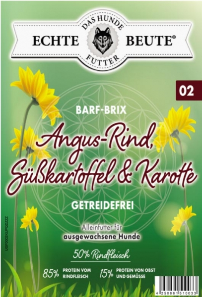 Echte Beute Barf-Brix No.02 Angusrind, Süßkartoffel & Karotte