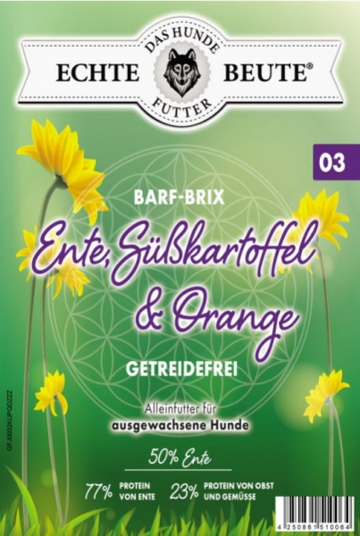 Echte Beute Barf-Brix No.03 Ente, Süßkartoffel & Orange